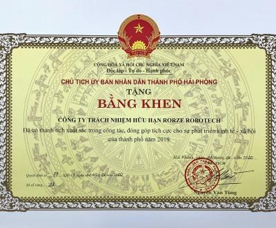 Nhận bằng khen của Chủ tịch UBND thành phố Hải Phòng